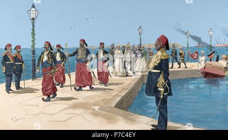 Travel of the Emperor of Germany, Wilhelm II, to Palestine. Entrance of the Emperors in Haifa, 1898. Engraving in The Illustration. Colored. - Stock Photo