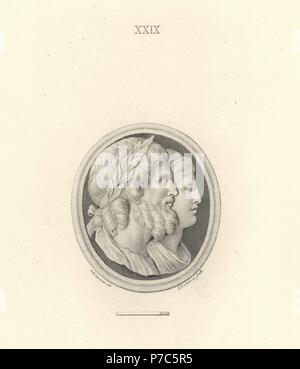 Jupiter and Juno, king and queen of the Roman gods. Copperplate engraving by Francesco Bartolozzi after a design by Giovanni Battista Cipriani from 108 Plates of Antique Gems, 1860. The gems were from the Duke of Marlborough's collection. - Stock Photo