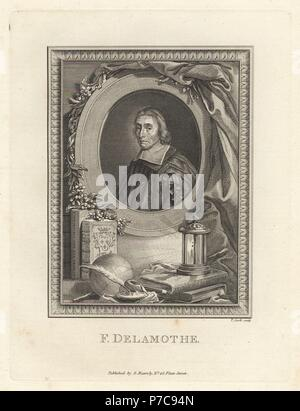Francois de la Mothe le Vayer, French writer and tutor to Louis XIV, 1588-1672, in skullcap and robes within oval, above books, lantern, quill pen and ink well. Copperplate engraving by Thomas Cook from The Copper Plate Magazine or Monthly Treasure, G. Kearsley, London, 1778. - Stock Photo