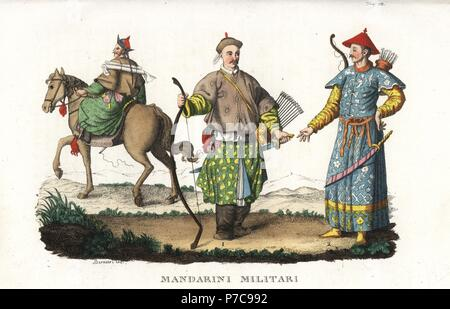 Chinese mandarins in military uniform with scimitar and bow, arrow, quiver. Handcoloured copperplate engraving by Andrea Bernieri from Giulio Ferrario's Ancient and Modern Costumes of all the Peoples of the World, Florence, Italy, 1843. - Stock Photo