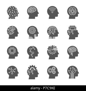 AI Artificial Intelligence icon set - Stock Photo