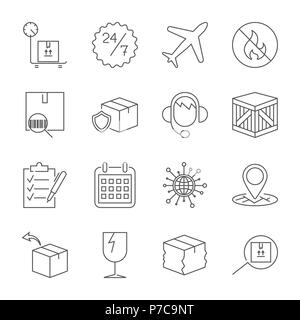 Thin line icons set of shipping and delivery. Outline symbol collection. Editable vector stroke. - Stock Photo