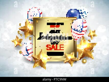 Independence Day sale banner with golden stars anf flag. Vector - Stock Photo