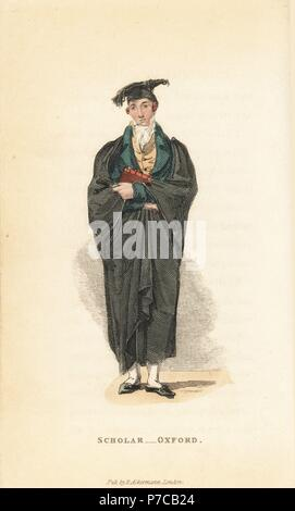 Scholar, Oxford University, early 19th century. Handcoloured copperplate engraving from William Henry Pyne's The World in Miniature: England, Scotland and Ireland, Ackermann, 1827. - Stock Photo