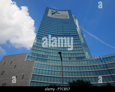 Milan, Italy - May 12, 2018: View of the 'Palazzo della Regione', is the public administrative Headquarters for the Lombardy - Stock Photo