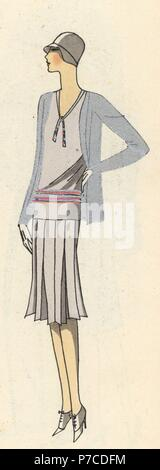 Woman in sports dress of woollen crepe. Handcolored pochoir (stencil) lithograph from the French luxury fashion magazine Art, Gout, Beaute, 1929. - Stock Photo
