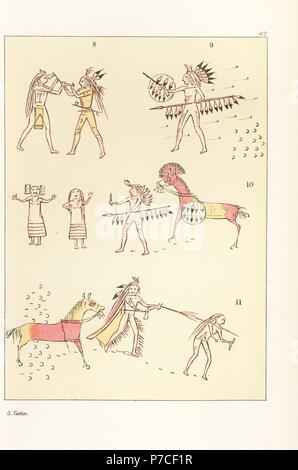 Battle scenes of the decorated robe of Mandan second chief Mah-to-toh-pa, Four Bears. Victory over a Cheyenne chief 8, standing alone against a party of Assiniboin 9, scalping two Ojibwe women 10, and shooting an Assiniboin warrior 11. Handcoloured lithograph from George Catlin's Manners, Customs and Condition of the North American Indians, London, 1841. - Stock Photo