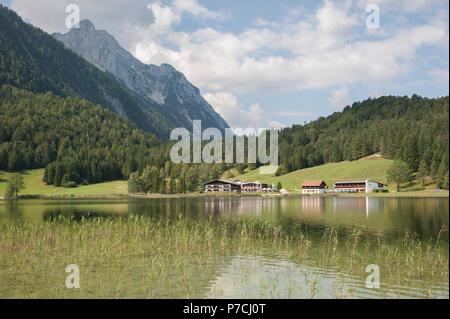 mountain lake lautersee, mittenwald, wetterstein mountains, karwendel mountains, garmisch-partenkirchen, werdenfelser land, upper bavaria, alps, bavaria, Germany - Stock Photo