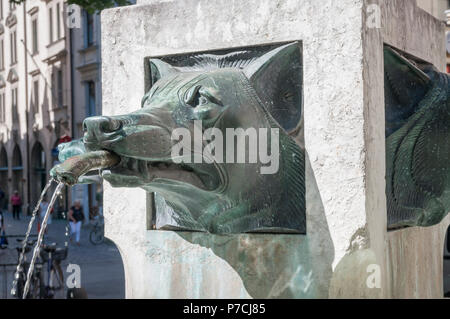 water well, munich, Upper Bavaria, Bavaria, Germany - Stock Photo