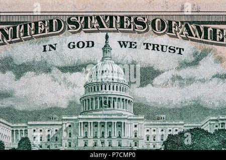 Closeup of United States Capitol depicted on 50 USD bill reverse with the words In God We Trust. Shallow depth of field - Stock Photo