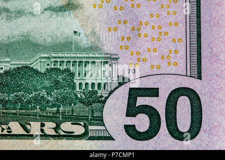 Closeup of fragment of 50 US dollars bill back side - Stock Photo