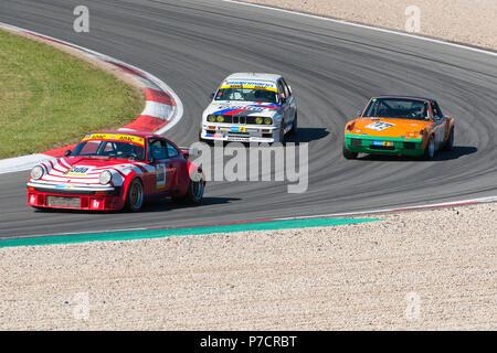 Porsche 930, Porsche 914/6, BMW M3 E30 at Nuerburgring, 24h Classic, motorsports, curves, curbes, Eifel, Rhineland-Palatinate, Germany, Europe - Stock Photo