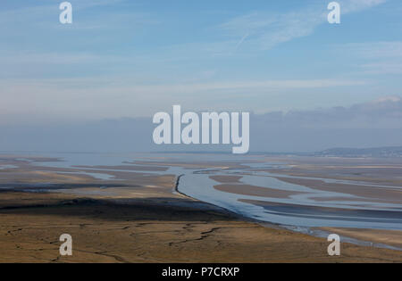 Loughor Estuary running between Carmarthenshire and the Gower Peninsula, Wales, UK - Stock Photo