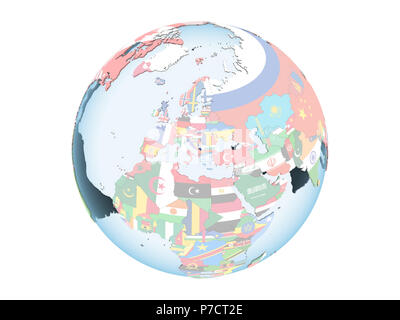 Kosovo on bright political globe with embedded flag. 3D illustration isolated on white background. - Stock Photo