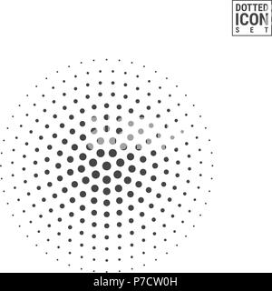 Halftone Vector Circle Isolated on White Background. Half Tone Circle Made of Dots Pattern - Stock Photo