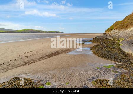 View of Dwyryd Estuary from Portmeirion, North Wales, Gwynedd, Snowdonia, United Kingdom. - Stock Photo