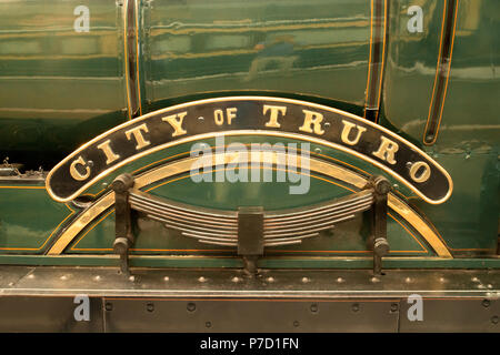 Engine name plate on 'City of Truro' steam locomotive at the Steam Museum of the Great Western Railway, Swindon, Wiltshire - Stock Photo