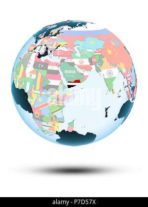 Yemen on political globe with shadow isolated on white background. 3D illustration. - Stock Photo