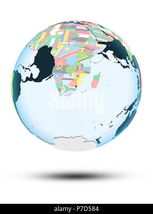 Swaziland on political globe with shadow isolated on white background. 3D illustration. - Stock Photo