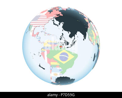 Suriname on bright political globe with embedded flag. 3D illustration isolated on white background. - Stock Photo