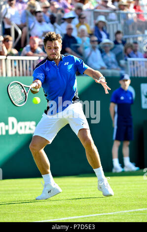 Stan Wawrinka (SWI) playing in the first round of the Nature Valley International, Eastbourne 25th June 2018.... - Stock Photo
