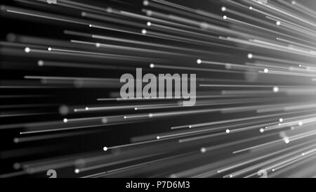 3d image concept of optical fiber, glare effect on tips of optical fiber, 3d render background, computer generated backdrop - Stock Photo