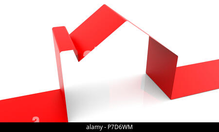 House from ribbon on white background, 3d render baackdrop, computer generated, symbol of happy family. - Stock Photo