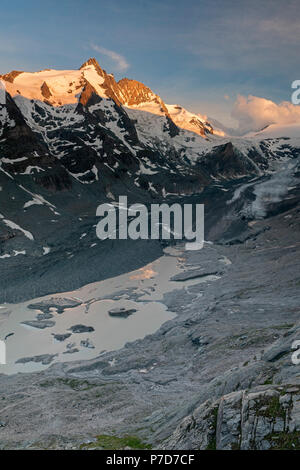 First morning light at the Grossglockner, Hohe Tauern, Pasterze, Carinthia, Austria - Stock Photo