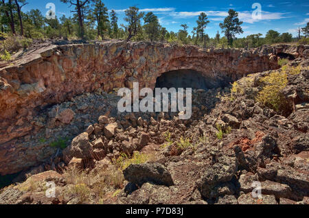 Entrance to Big Skylight Cave, Big Tubes volcanic area, El Malpais National Monument, New Mexico, USA - Stock Photo
