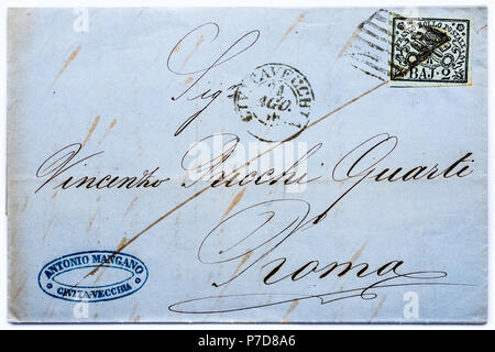 1852 papal states (italy) postage stamp on letter stock photo