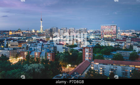 View over the roofs of Berlin to the TV Tower, Berlin, Germany - Stock Photo