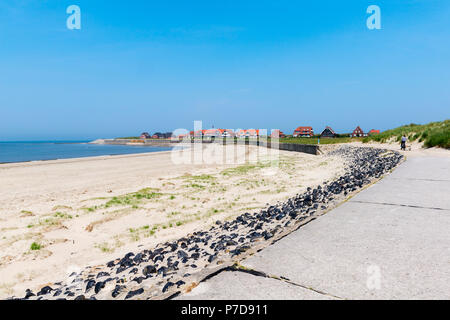 Sandy beach at the western end of Baltrum, East Frisian island Baltrum, East Frisia, Lower Saxony, Germany - Stock Photo