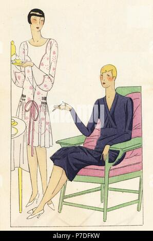 Woman in afternoon dress in white muslin with pink embroidery, and woman in afternoon dress of pleated crepe de chine. Handcolored pochoir (stencil) lithograph from the French luxury fashion magazine Art, Gout, Beaute, 1927. - Stock Photo