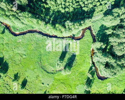Aerial view of canoes on Marycha river on a sunny day, Poland - Stock Photo