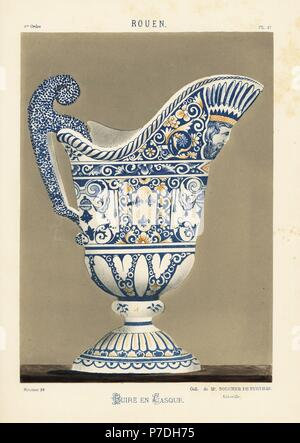 Ceramic ewer in the shape of a helmet, Rouen, France. Decorated with fleur de lys, a man's head, foliage in blue and gold. Hand-finished chromolithograph from Ris Paquot's General History of Ancient French and Foreign Glazed Pottery, Chez l'Auteur, Paris, 1874. - Stock Photo
