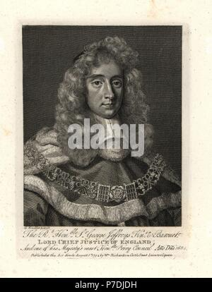 Sir George Jeffreys, the Hanging Judge, Lord Chief Justice of England, 1645-1689. Copperplate engraving after a portrait by G. Kneller from William Richardson's Portraits Illustrating Granger's Biographical History of England, London, 1792–1812. James Granger (1723–1776) was an English clergyman, biographer, and print collector. - Stock Photo