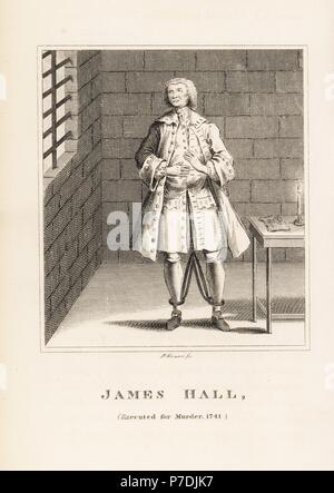 James Hall, executed for the murder of his employer in 1741. In shackles in his prison cell. Copperplate engraving by R. Grave from John Caulfield's Portraits, Memoirs and Characters of Remarkable Persons, Young, London, 1819. - Stock Photo