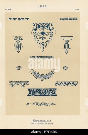 Decorations from the pottery of Lille, France. Hand-finished chromolithograph from Ris Paquot's General History of Ancient French and Foreign Glazed Pottery, Chez l'Auteur, Paris, 1874. - Stock Photo