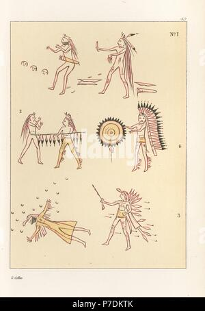 Battle scenes of the decorated robe of Mandan second chief Mah-to-toh-pa, Four Bears. Killing a Sioux warrior with three kills, lancing a Cheyenne, shooting a Cheyenne, and taking the scalp of a Cheyenne chief. Handcoloured lithograph from George Catlin's Manners, Customs and Condition of the North American Indians, London, 1841. - Stock Photo
