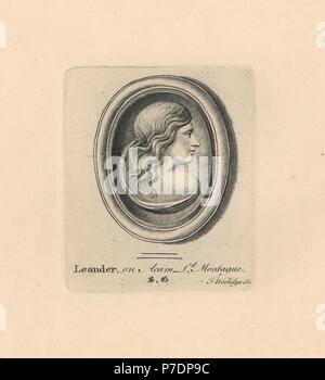 Portrait of Leander, youth and lover of Hero in Greek myth, on acam from Lord Montague's collection. Copperplate engraving by Thomas Worlidge from James Vallentin's One Hundred and Eight Engravings from Antique Gems, 1863. - Stock Photo