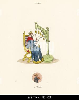 King David playing handbells with hammers from a 14th century manuscript of his psalms, with a vignette of a comedian holding bellows and tongs as if playing a fiddle. Handcoloured lithograph by Joseph Strutt from his own Sports and Pastimes of the People of England, Chatto and Windus, London, 1876. - Stock Photo