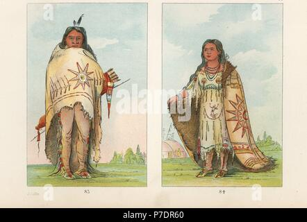 Arikara or Riccaree brave Pah-too-ca-ra, He Who Strikes 83 and young girl Pshan-shaw, Sweet-Scented Grass 84. Handcoloured lithograph from George Catlin's Manners, Customs and Condition of the North American Indians, London, 1841. - Stock Photo