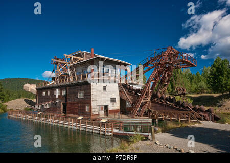 Old gold mining dredge at Sumpter in Blue Mountains, Oregon, USA - Stock Photo