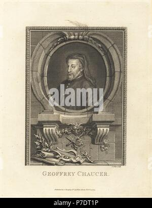 Portrait of Geoffrey Chaucer, medieval English poet, 1343-1400, within an oval decorated with lyre, pipes, mask and scrolls. Copperplate engraving by Joshua Collyer from The Copper Plate Magazine or Monthly Treasure, G. Kearsley, London, 1774. - Stock Photo