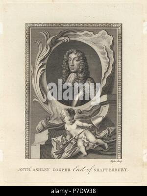 Portrait of Sir Anthony Ashley Cooper, 1st Earl of Shaftesbury, English politician, 1621-1683. In an oval, with putto, sword and bell. Copperplate engraving by Ryder from The Copper Plate Magazine or Monthly Treasure, G. Kearsley, London, 1778. - Stock Photo