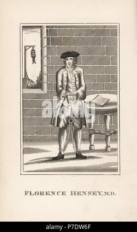 Florence Hensey, Irish doctor sentenced to death for high treason as a French spy in 1759. Reprieved two weeks later. Shown in shackles in a prison cell, with a body hanging from a gibbet outside the window. Copperplate engraving from John Caulfield's Portraits, Memoirs and Characters of Remarkable Persons, Young, London, 1819. - Stock Photo