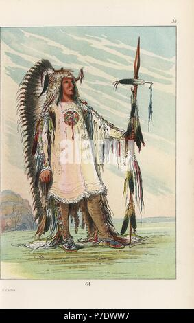 Mandan second chief Mah-to-toh-pa, Four Bears, in sheepskin shirt edged with scalps and porcupine quills, deerskin leggings, buckskin mocassins, war-eagle feather headdress and bear-claw necklace. Handcoloured lithograph from George Catlin's Manners, Customs and Condition of the North American Indians, London, 1841. - Stock Photo