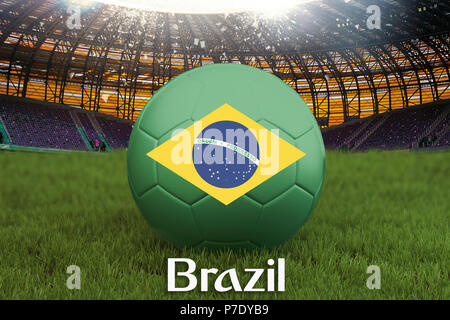 Brazil football team ball on big stadium background. Brazil Team competition concept. Brazil flag on ball team tournament in Russia. Sport competition - Stock Photo