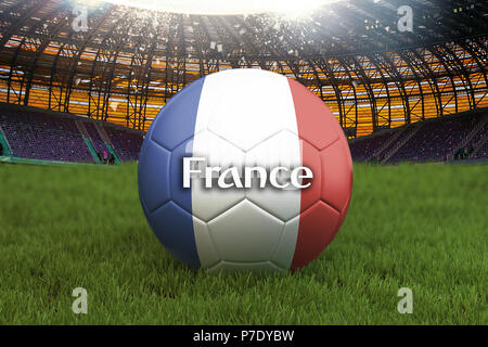France football team ball on big stadium background. France Team competition concept. France flag on ball team tournament in Russia. Sport competition - Stock Photo