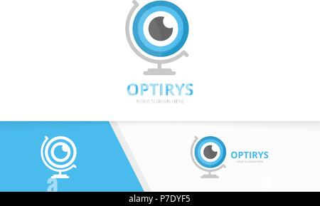Vector eye and globe logo combination. Optic and planet symbol or icon. Unique vision logotype design template. - Stock Photo